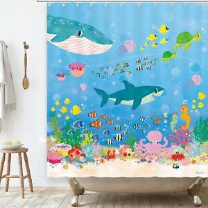 BASHOM BSC213 Under the Sea Kids Shower Curtain set for kids Bathroom 180x180cm