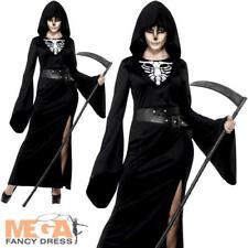 Lady Death Grim Reaper Ladies Halloween Fancy Dress Skeleton Adult Women Costume