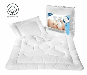 Anti Allergy Duvet Quilt + Pillow Cotton Baby Cot Bed Bedding Set All Sizes