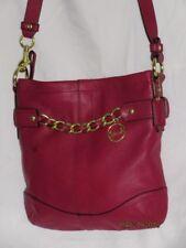 Vtg COACH F19722 Raspberry Pink Burgundy Wine Leather HandBag Crossbody Purse