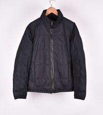 Prada Down Padding Hidden Hood Men Jacket With Leather APP Size EU54 U44