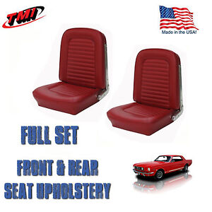 1966 Ford Mustang Front/Rear Seat Upholstery Drk Red Metallic Vinyl Made by TMI