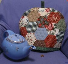 Multi-Color Hexagon Pattern Faux Quilt Tea Cozy - Quilted - Hand Made - New