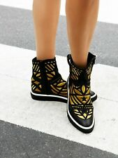 Mexicana Womens Directional Embroidered Sneakers Black 6 New