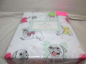 NEW Kids Rule 3 piece Twin Sheet Set Ballerina Bulldogs NIP