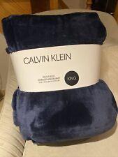 Calvin Klein Blanket King Soft Plush Fleece Navy Blue Oversized Nwt