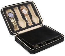 Uhrenetui 8 Uhren Uhrenbox Schwarz Uhrenschatulle Uhrenaufbewahrung Reiseetui