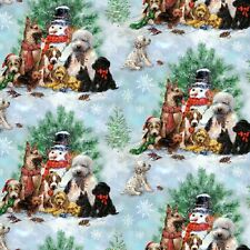 Fat Quarter Holiday Pups Dogs Christmas Scenes Cotton Quilting Fabric - SPX
