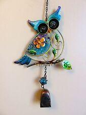 "Owl Bell Chime Fusion Glass Metal Garden Decor Yard Flower Design Blue New 18"""