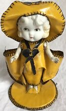"RARE Vintage VASES 7.5"" Bisque Doll Frozen Charlotte w/ Yellow Oil Cloth Outfit"
