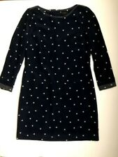 J. Crew, Silk Polka Dot Shift Dress, Navy Blue, Size 2