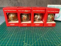 VINTAGE CLASSIC COCA-COLA SANTA CHRISTMAS ORNAMENTS BOXED SET OF 4 CORNING GLASS