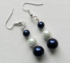 Navy Blue & White Glass Pearl Beaded Drop/Dangle PIERCED Earrings Jellybean
