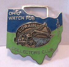 Lorain Front Shovel Truck Crane Ohio Watch Fob Collectors Club 1981 OWFCC Enamel