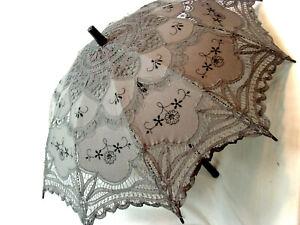 Cotton Battenberg Lace Parasol GRAY Victorian Edwardian style wood handle