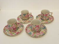 Royal Crown China Japan Demitasse Set 4 Cups Saucers Mini Sussex Bouquet Floral