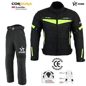Men's Motorbike Cordura Textile Jacket/Trouser CE Armoured Top/Bottom