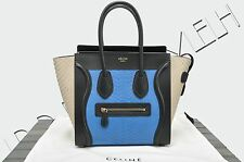 CELINE PARIS Authentic New Micro Luggage Tote Bag In Sea Blue Python Leather