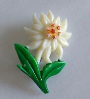 PIN VINTAGE 40's Broche CELLULOID/ EARLY PLASTIC EDELWEISS FLOWER