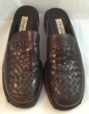 Brighton Slides Mules Shoes 8.5N Scribe Woven Clog Brown Leather Brazil