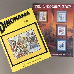 Lot of 2 Dinosaur Cross Stitch Charts - The Dinosaur Book & Dinorama T Rex