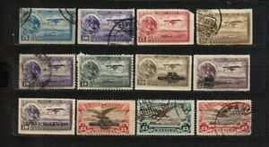 Mexico 1929 1934 lot of 12 stamps, used fair condition as seen, combine shipping