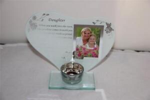 DAUGHTER GLASS HEART FRAME & POEM & TEALIGHT CANDLE HOLDER MEMORIAL OR GIFT