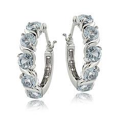 Sterling Silver 2.50ct TGW Aquamarine S Design Hoop Earrings