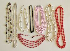 Jewelry lot #47: 8 vintage necklaces incl. cranberry glass & other glass beads