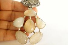 Natural Drusy Druzy Quartz Balinese 925 Sterling Silver Pendant