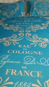 Really Gorgeous French Style Shabby Chic Teal DOUBLE Duvet Cover & Pillowcases