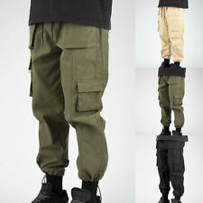 Men Loose Trousers Joggers Streetwear Fitness Track Pants with Multi Pockets New