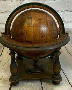 Vintage Wood Olde World Globe Desktop Zodiac Astrology Signs Made in Italy