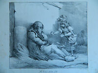 Antica Litografia XIX Villain Firmato Charlet La Good Piccolo Fille Scena Morale