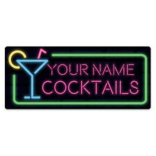 Metal Wall Sign - Personalised Cocktails Alcohol Gift Plaque