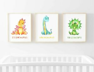 Dinosaurs Triceratops Trio Set of 3 Name Picture Nursery Print Gift UNFRAMED