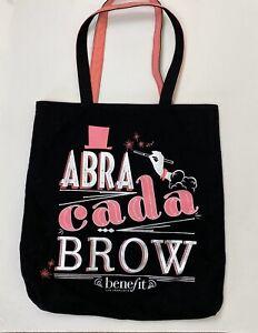 BENEFIT Cosmetics Promotional Canvas Tote Bag Black Pink Abra cada brow