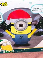New 3.5' MINIONS CARL AIRBLOWN INFLATABLE Lights Up Gemmy LED Christmas Hat