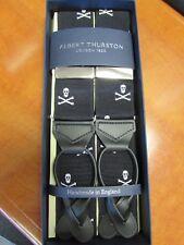 ALBERT THURSTON LEATHER END BRACES BLACK SKULL/CROSSBONE, MADE IN ENGLAND