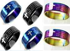 18 MIX lord's prayer english text  stainless steel rings jewelry lots wholesale