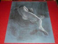 [ANDRE LANDAUD 1924-2013] NU FEMININ Grd Dessin Fusain-pastel papier bleu 65X50