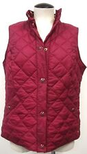 TOM JOULE DEEP RED QUILTED WOMEN'S VEST LINED WITH FLORAL COTTON FABRIC SZ 10