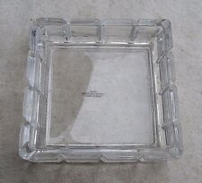 Square Lead Crystal Ashtray,faceted pattern,clear,vintage 1980s,Avon, -smoking