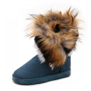 Women's Mid Calf Boots Snow Boot Faux Fox Fur Furry Cotton Shoes Winter Warm
