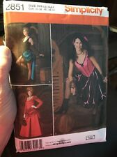 Simplicity 2851 Costume Sewing Pattern Misses' Saloon Girl Size 6-12 Uncut Weste