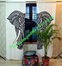 Indian Mandala Curtain Panel Elephant Living Room Tab Top Luxury Door Curtains