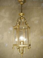 HANGING LANTERN GOLD BRONZE FINE MAT CHANDELIER LAMP FOYER BRASS USED LUSTRE OLD