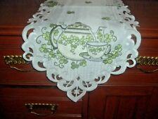 St. Patrick Shamrock Tea Pot Teapot Table Runner - Green on White - 13x72-  FS