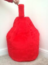 COVER ONLY Bean Bag Red Faux Fur Luxurious Children's 3 CUBIC FEET Size New