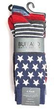 Buffalo David Bitton Men's 4 Pk Americana Red White Blue Stars Stripes Crew Sox